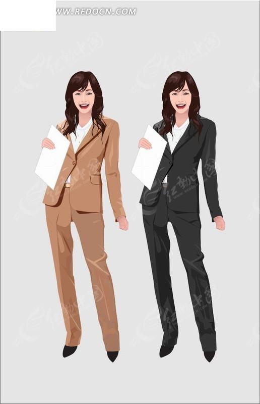 手绘卡通人物拿着文件档案穿着行政套装的职业女性