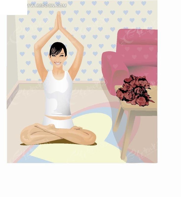 手绘卡通人物坐在家里举着双手练习瑜伽的美女