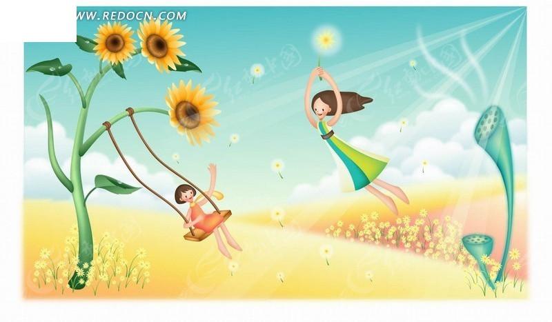 手绘卡通人物太阳花上荡秋千小女孩和抱着蒲公英飞翔