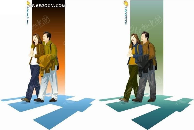 手绘卡通人物搂在一起拿着外套走出房间的男女情侣