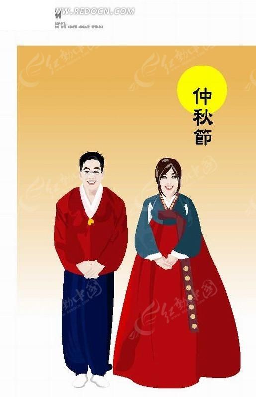 手绘卡通人物鞠躬传统民俗服饰的韩国男女