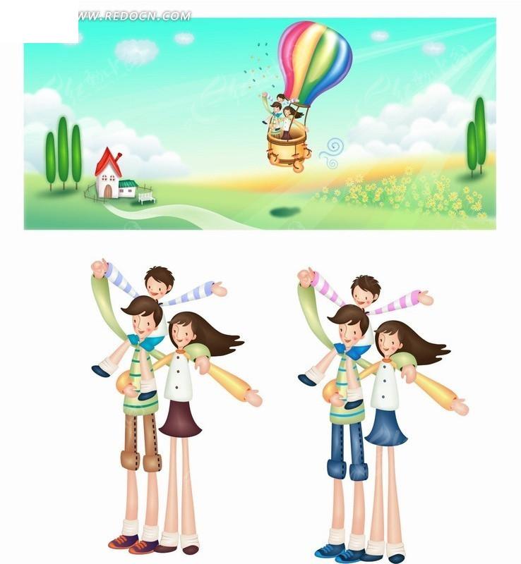 手绘卡通人物草地热气球上快乐的父母和孩子矢量图ai
