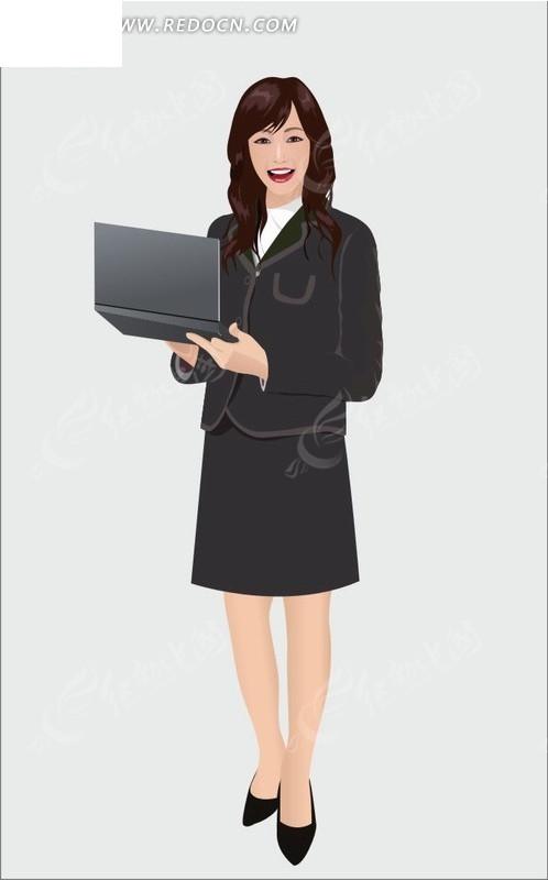 手绘卡通人物拿着手提电脑的长发职业女性