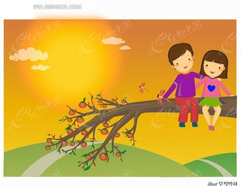 手绘卡通人物草地柿子树枝上的男孩女孩情侣
