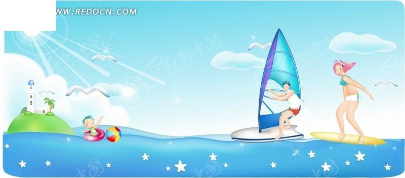 手绘卡通人物闪亮大海滑浪风帆的男女情侣矢量图_卡通