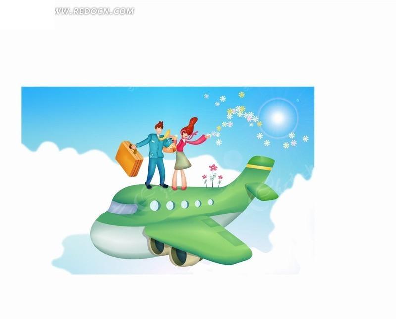 手绘卡通人物蓝天白云上站在飞机散花的男女情侣