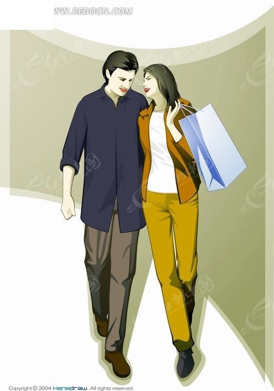 手绘卡通人物拿着购物袋依偎着的男女情侣