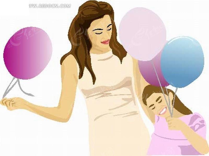 手绘卡通人物拿着气球的妈妈和小女孩