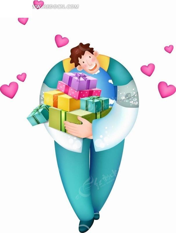 手绘卡通人物双手怀抱着礼物盒的男子矢量图_卡通形象