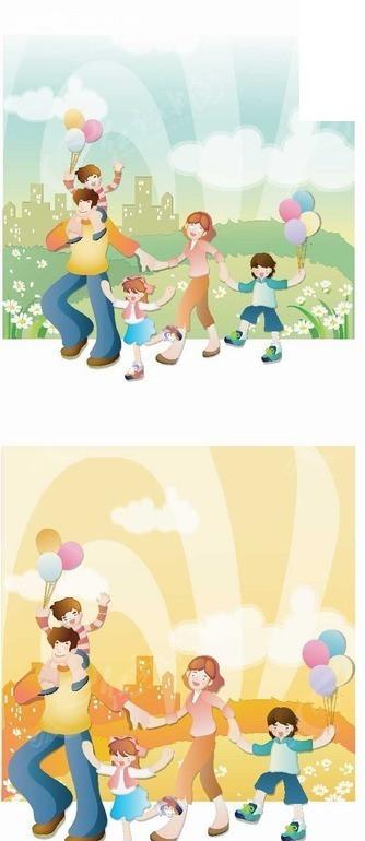 卡通人物 拿着气球的孩子和开心的夫妻