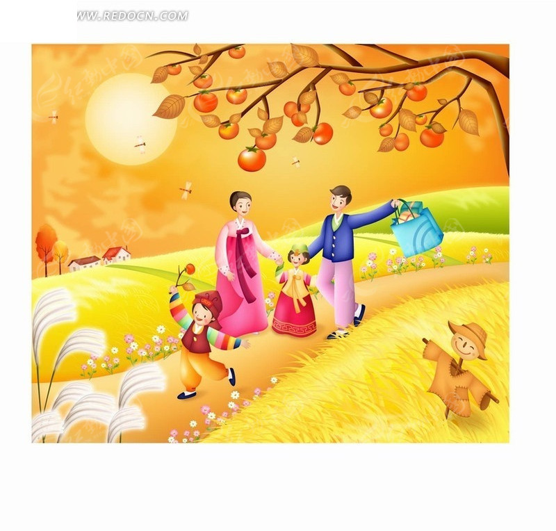 卡通人物 金色田野路上传统服饰的一家人