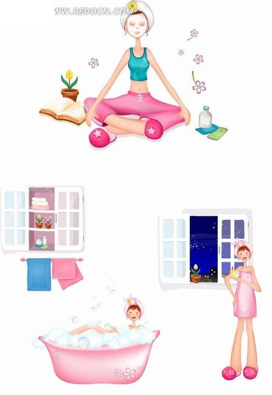 卡通人物 瑜伽和洗浴的女孩