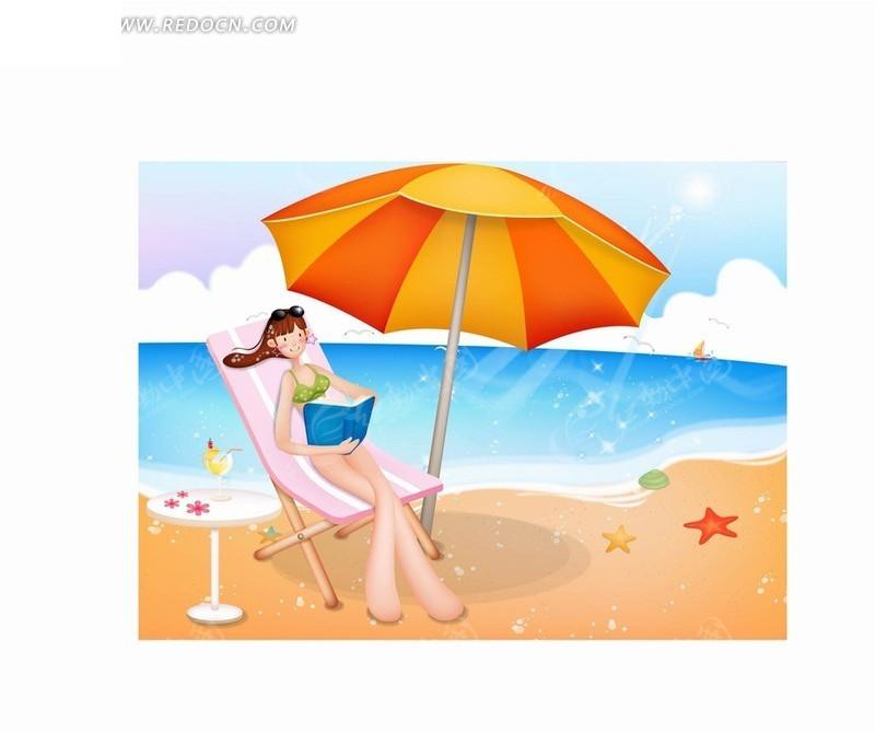 银杏树下看书的女孩插画