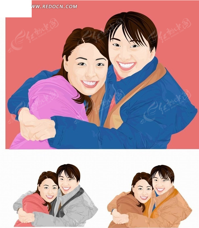 矢量卡通插画-拥抱在一起的男女矢量图