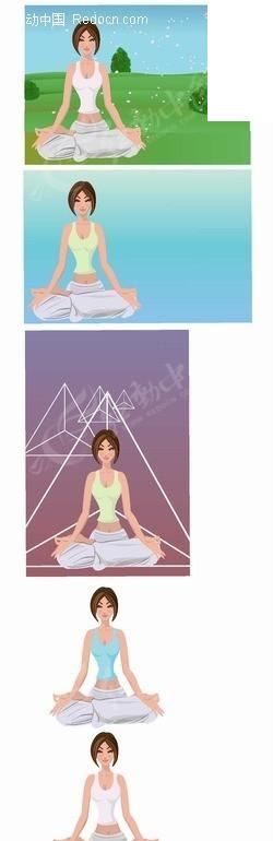 手绘插画户外盘坐练习瑜伽的女子