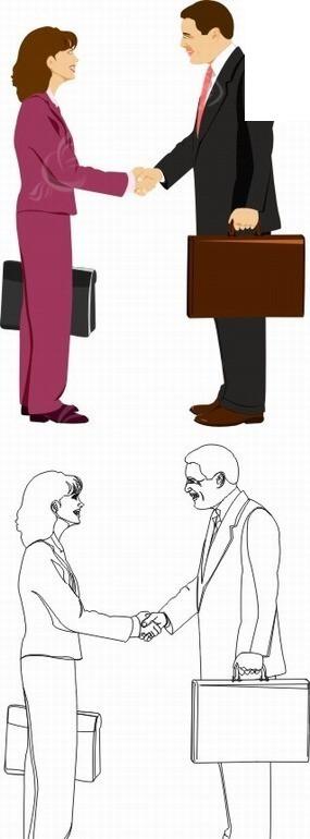 手绘插画商务握手的职业男女