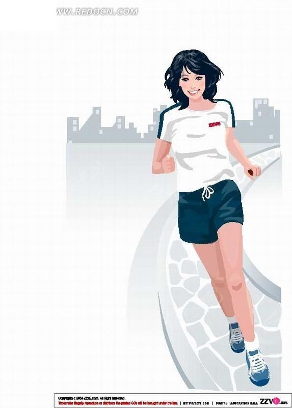 手绘插画在路上跑步的运动女性