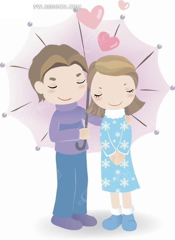 手绘插画 打着伞依偎着的年轻情侣
