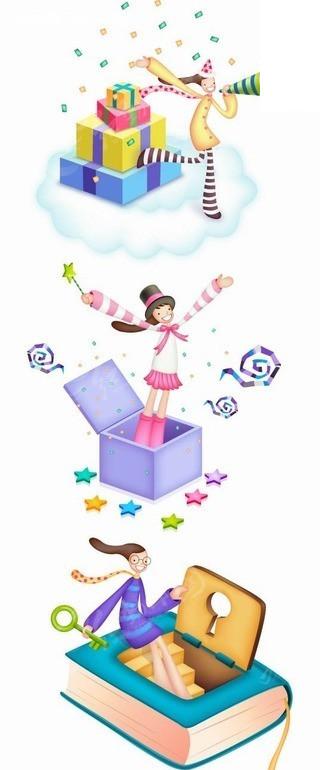 女孩 书本 钥匙 魔法师 话筒  卡通人物  卡通人物图片 漫画人物 人物