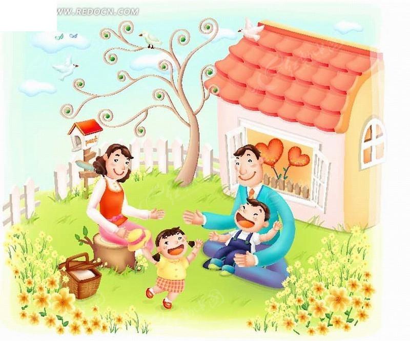 卡通人物 房屋草地上的开心的家庭