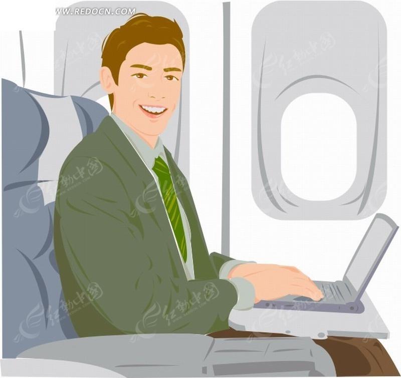 矢量插画坐在飞机座位用手提电脑的职业男性