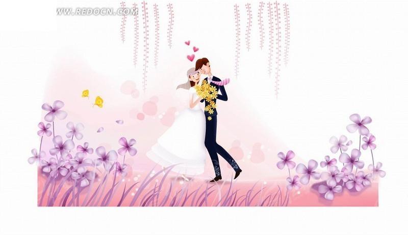人物卡通插画粉红花园上拥抱的新郎新娘