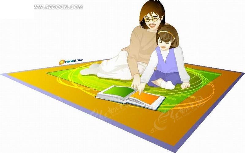 矢量卡通插画-妈妈教小女孩读书