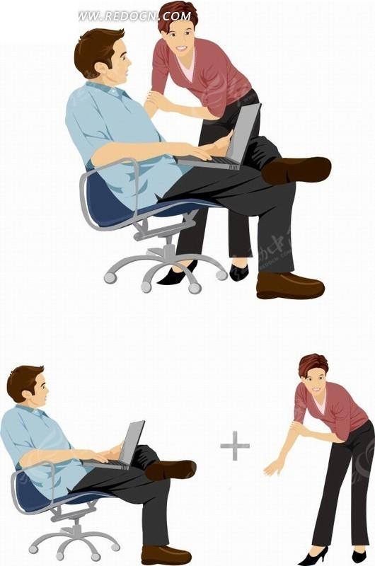 卡通人物 坐在椅子上看电脑的男士和女孩