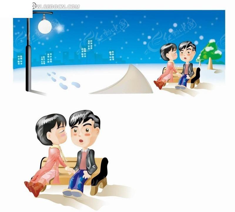 卡通人物 雪后长椅上的女孩亲吻男孩矢量图 卡