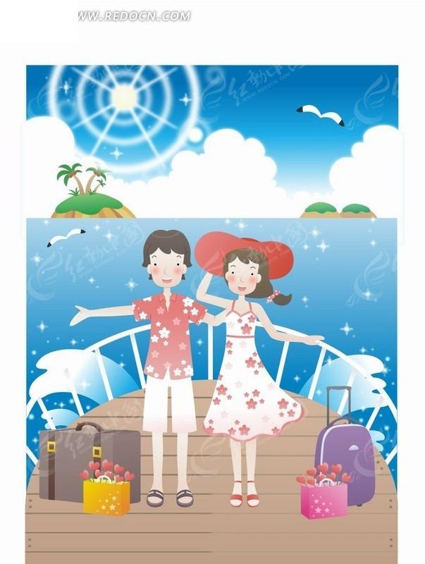 免费素材 矢量素材 矢量人物 卡通形象 韩国人物插画海上轮船旅行的年