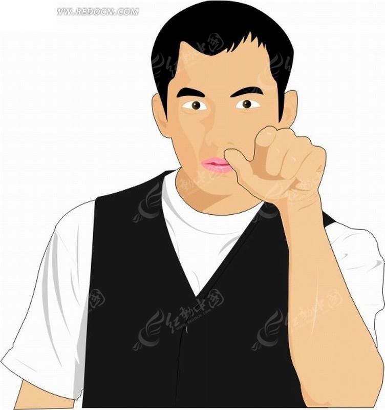 男人开包代表什么_矢量卡通插画——伸出食指的男人