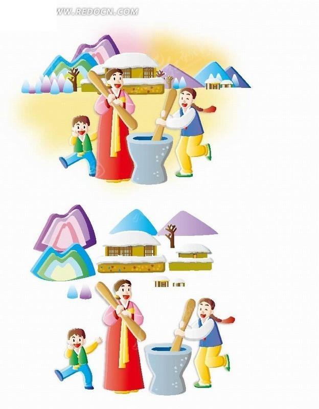 卡通人物 正在舂米的朝鲜族母女