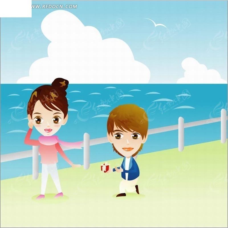 人物插画海边求婚的大头卡通男女