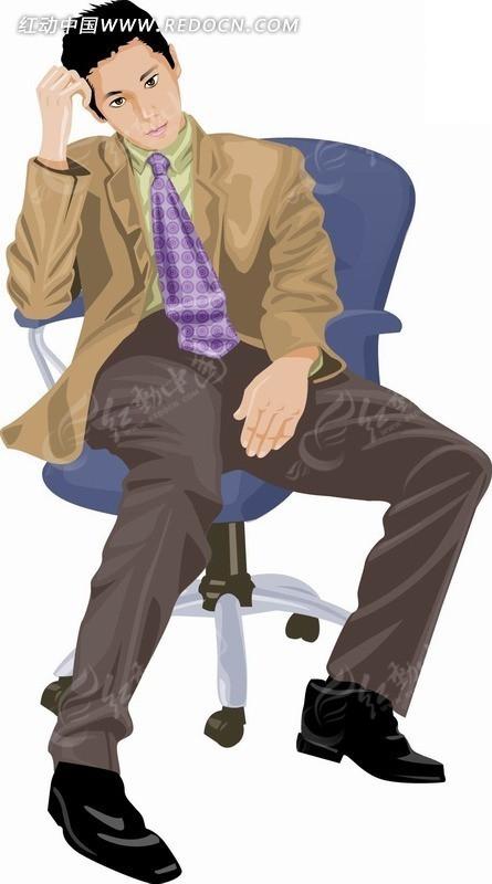 人物插画坐在办公旋椅上单手托头的职业男性