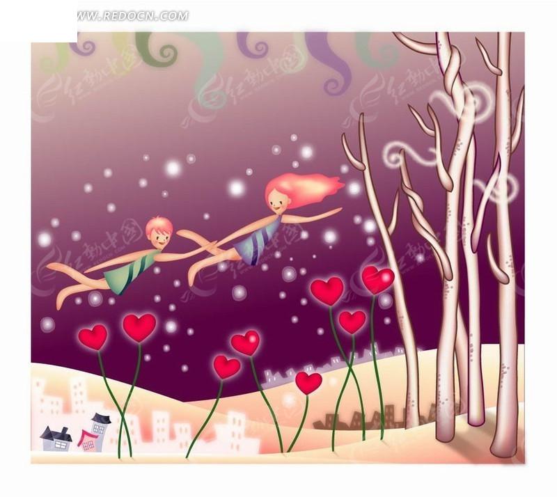 人物插画在树林红心中飞舞的男孩和女孩