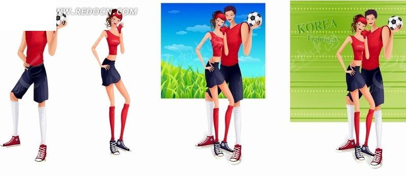 矢量卡通插画-健身踢足球的帅哥美女