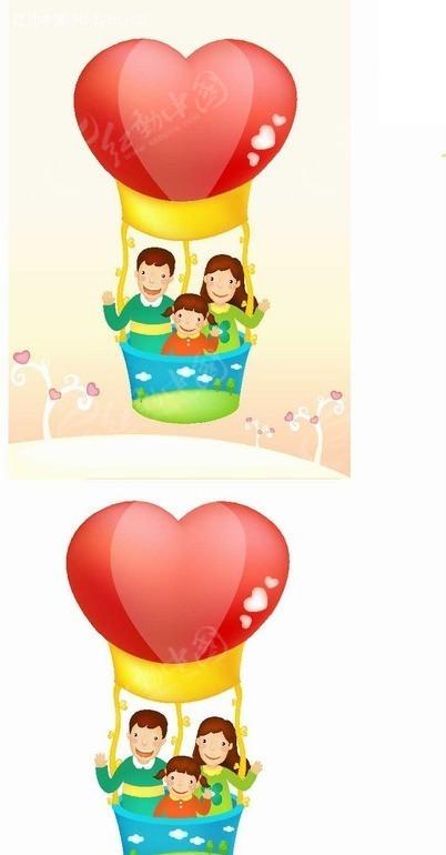 人物插画乘坐爱心热气球的父母和女孩