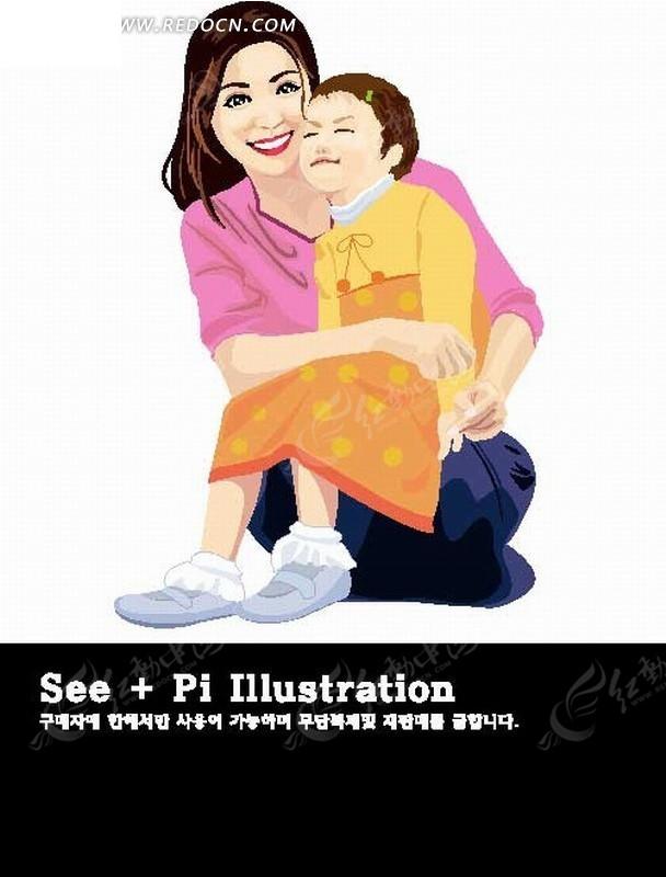卡通人物插画-小女孩坐在妈妈腿上