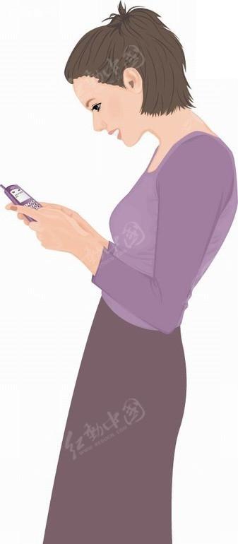 卡通人物插画-看手机的女人ai免费下载_卡通形象素材