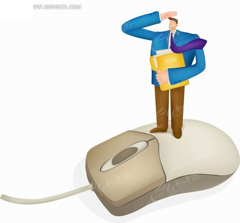 矢量卡通插画 站在鼠标敬礼的职业男人
