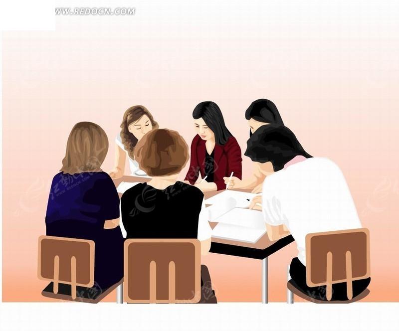韩国人物插画围在桌面工作的商务女性团队