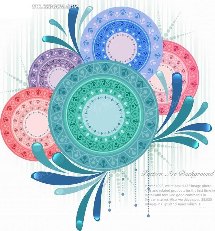 手绘时尚水滴及花纹圆圈矢量图_印花图案