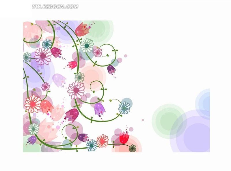 梦幻缤纷的手绘藤蔓及野菊花