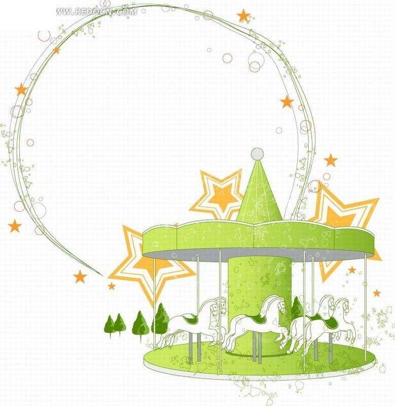 艺术边框画框绿色旋转木马手绘圆形边框