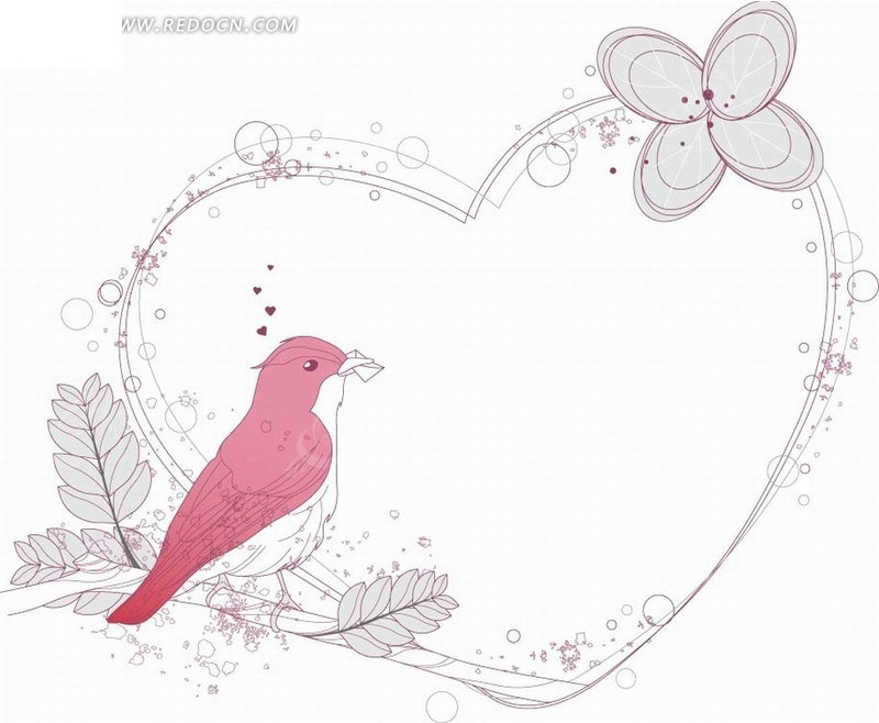 淡雅手绘小鸟心形边框矢量素材