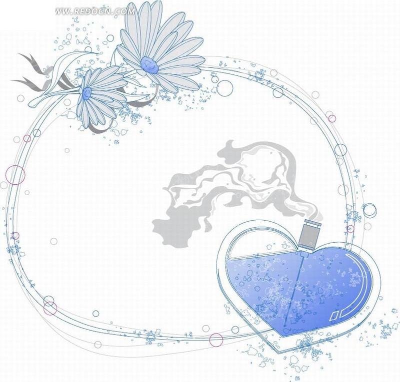 淡雅手绘花朵心形矢量素材