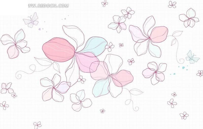 矢量动感花朵花瓣线条插画图片