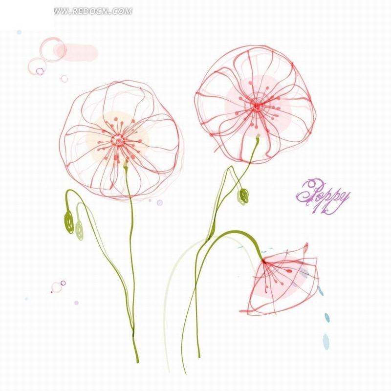 手绘彩铅花卉插画_日本手绘彩铅插画