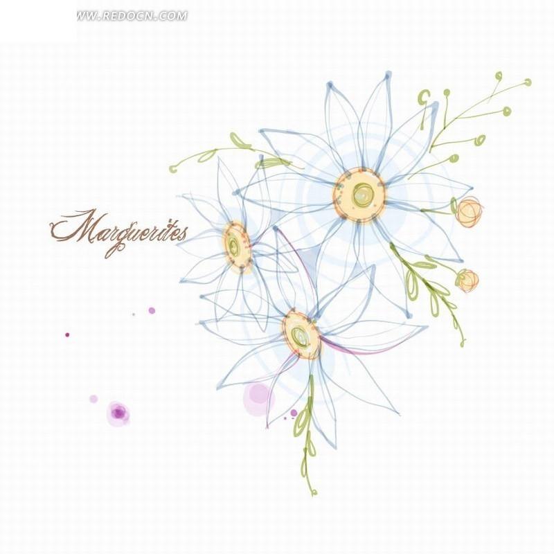 免费素材 矢量素材 花纹边框 花纹花边 手绘创意花朵花卉线稿插画  请
