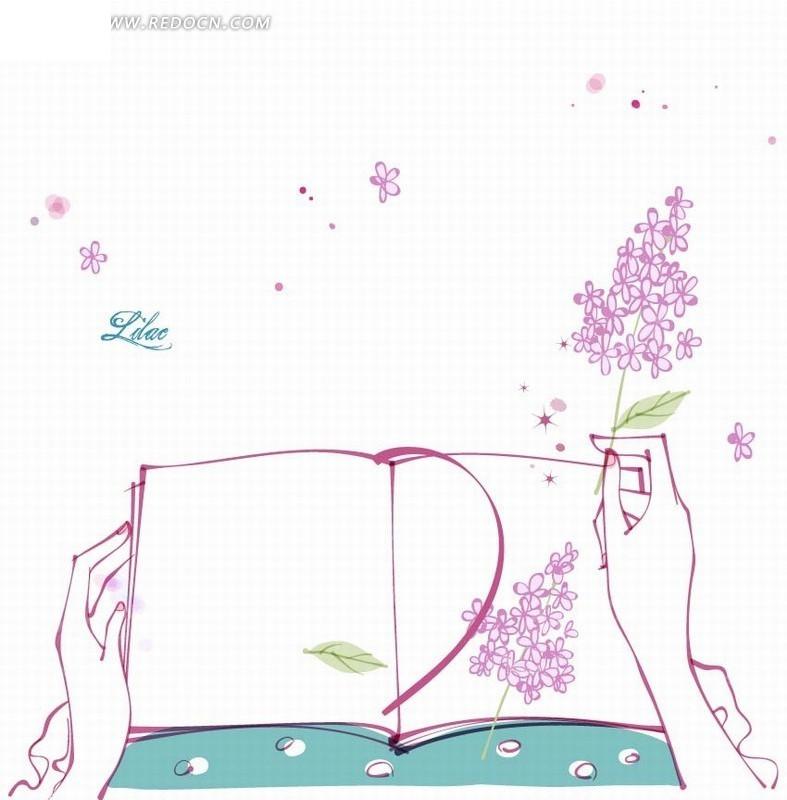 免费素材 矢量素材 花纹边框 花纹花边 手绘拿着书本和花朵的人物线稿